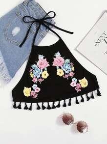 Flower Print Tassel Edge Halter Bralette