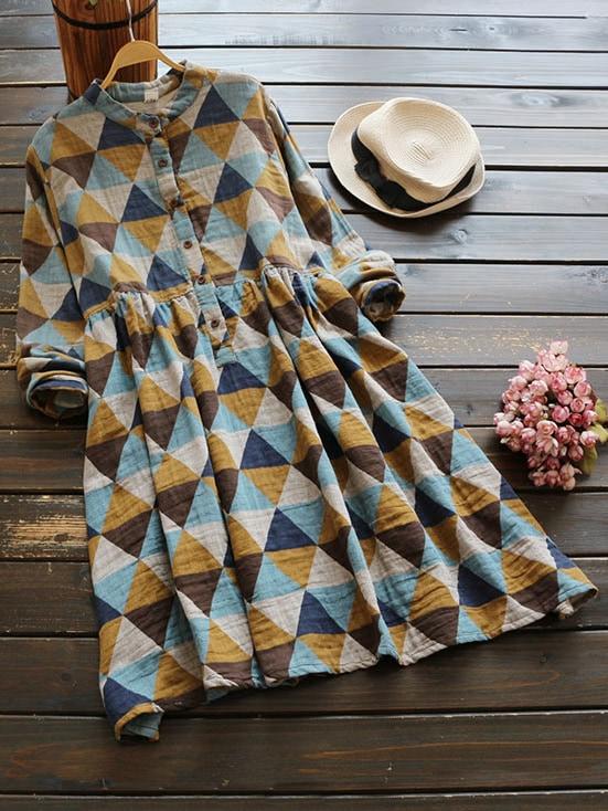 Stand Collar Allover Geo Print Shirt Dress