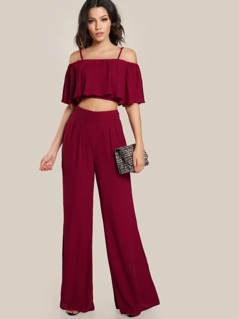 Crop Flounce Top And Box Pleated Palazzo Pants Set