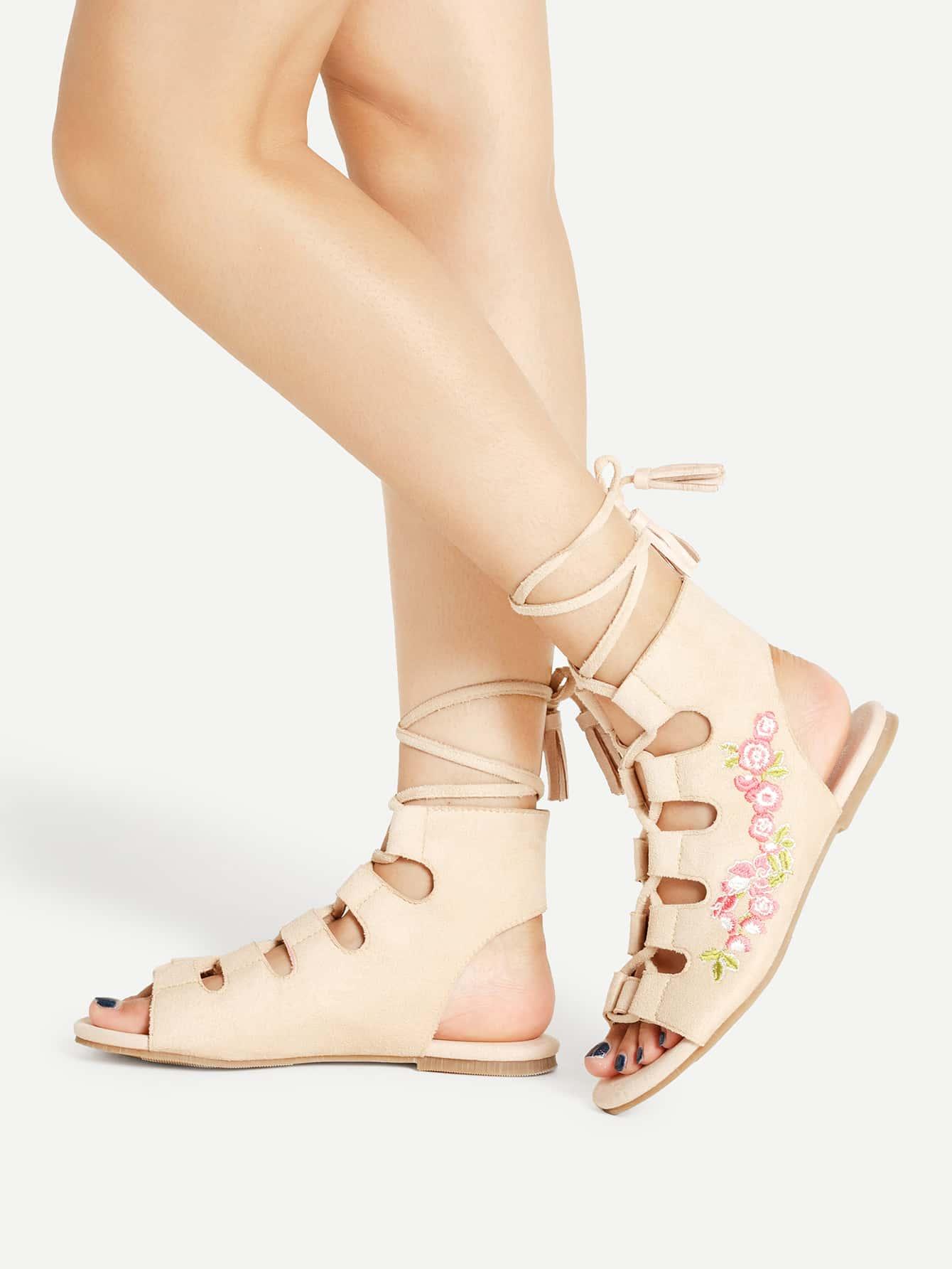 Фото Calico Embroidery Lace Up Flat Sandals With Tassel. Купить с доставкой