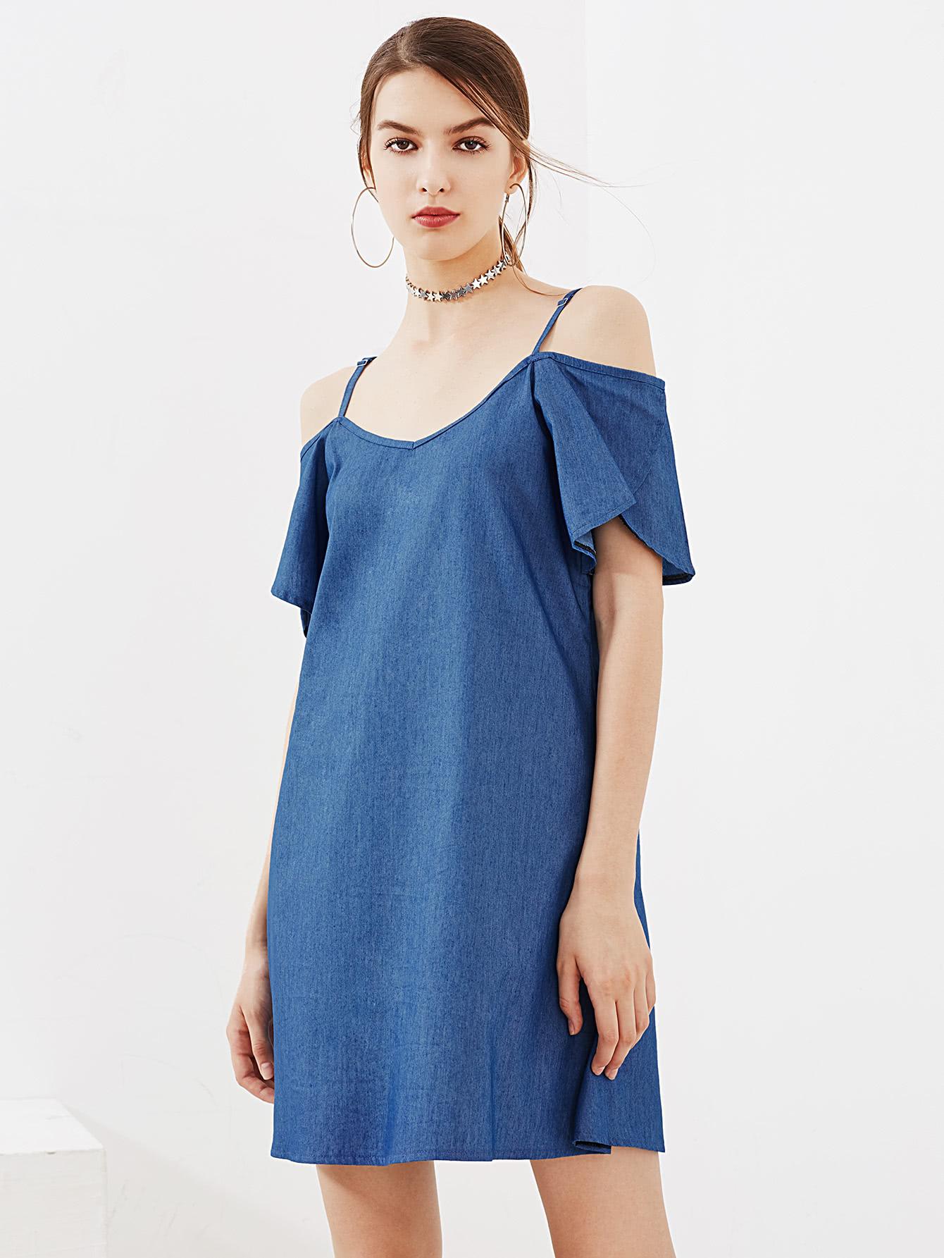 Фото Petal Sleeve Chambray Dress. Купить с доставкой