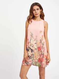 Buttoned Keyhole Botanical Swing Dress