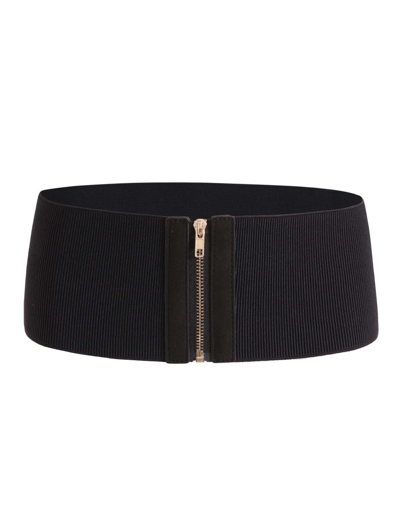 Zipper Up Elastic Waist Belt