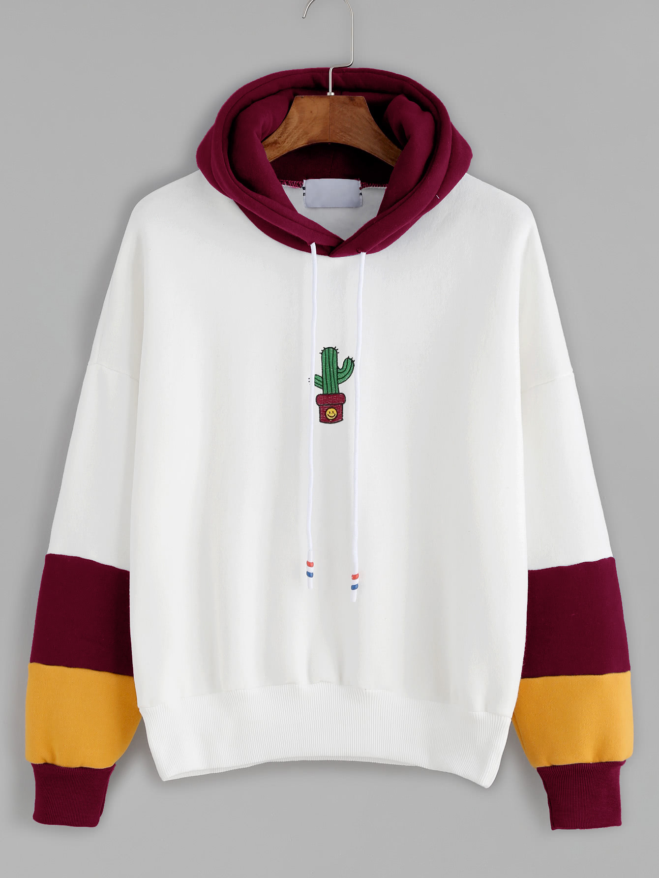 Hooded Drawstring Cactus Embroidered Contrast Sleeve Sweatshirt contrast check plaid embroidered appliques sweatshirt page 9