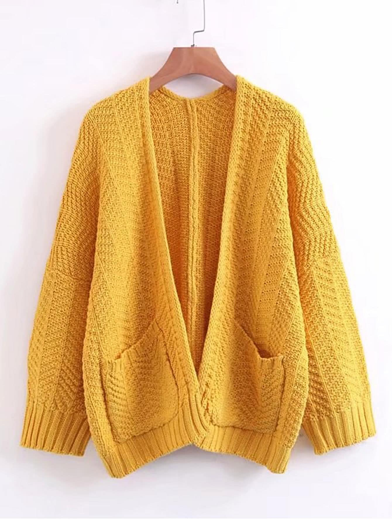 Open Front Ribbed Trim Sweater Coat