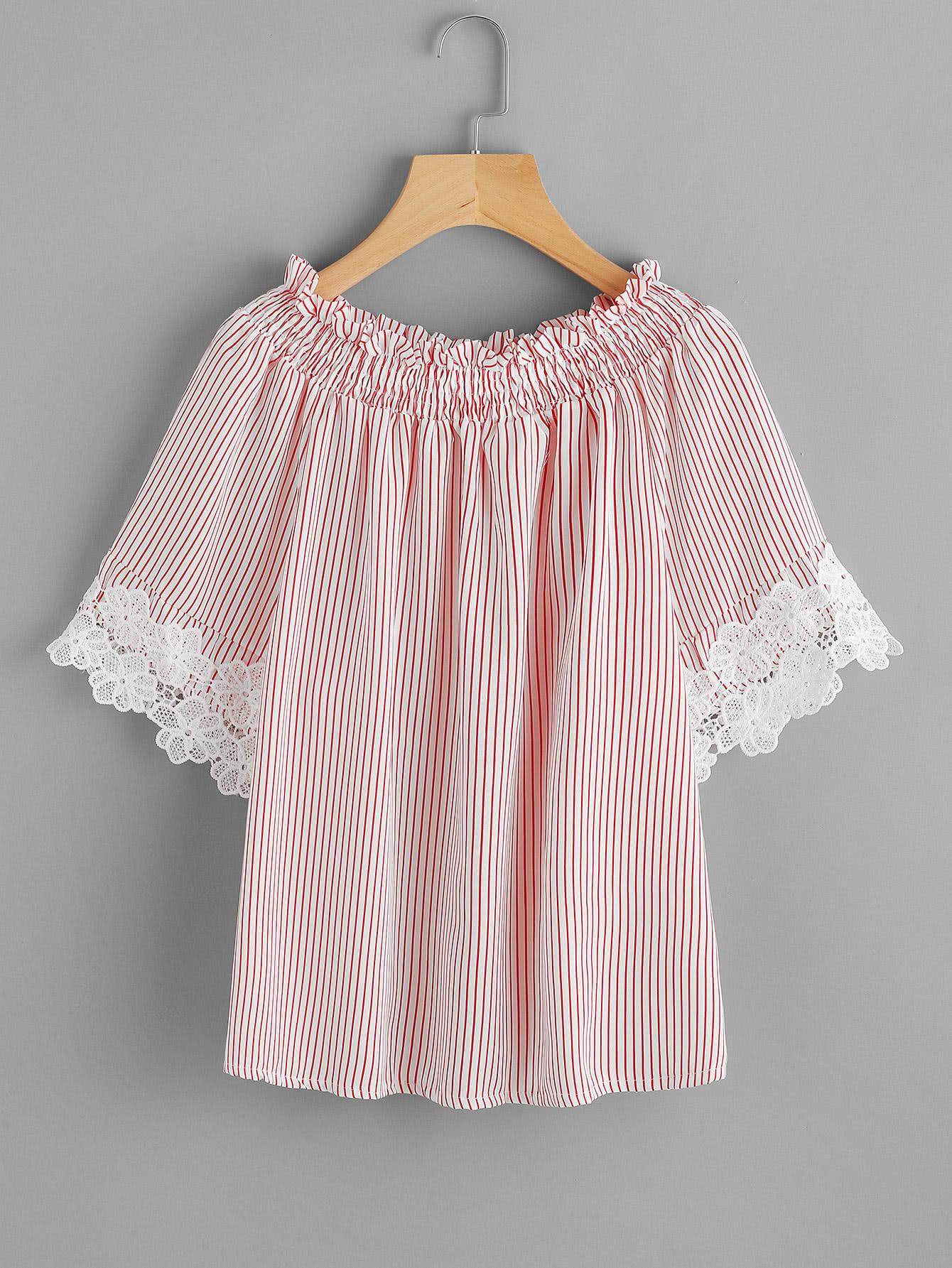 Contrast Crochet Trim Vertical Striped Frill Top blouse170728104