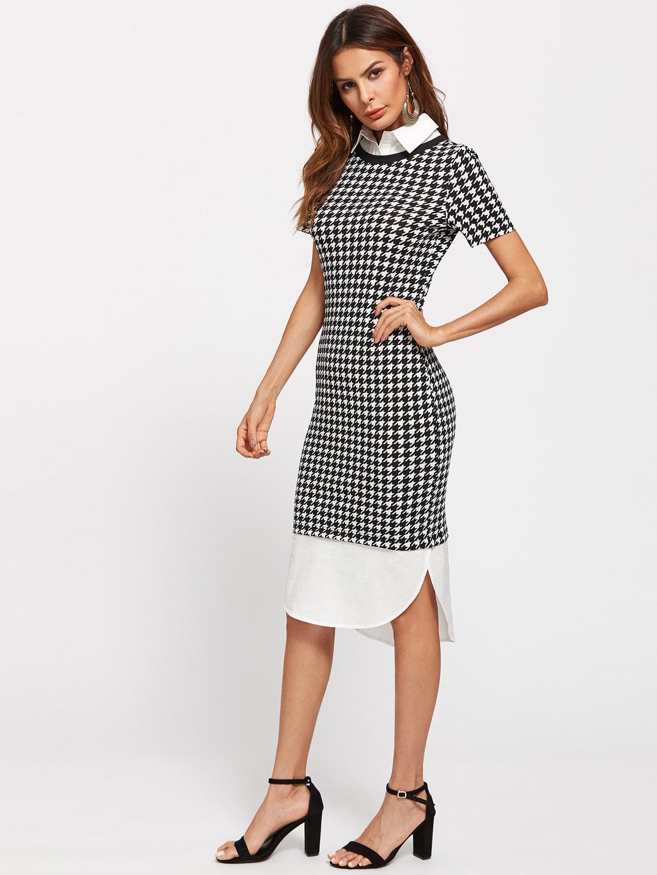 Фото Contrast Collar And Curve Hem 2 In 1 Dress. Купить с доставкой