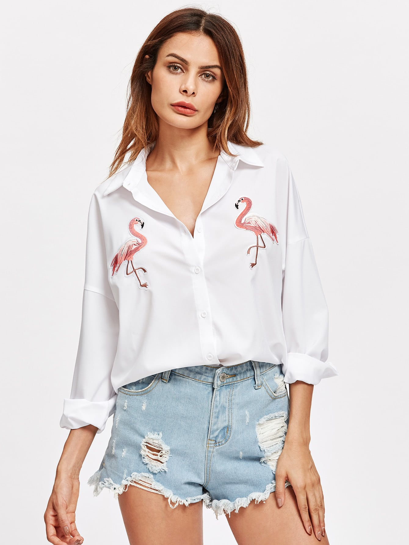 Embroidered Flamingo Patch Dolphin Hem Shirt