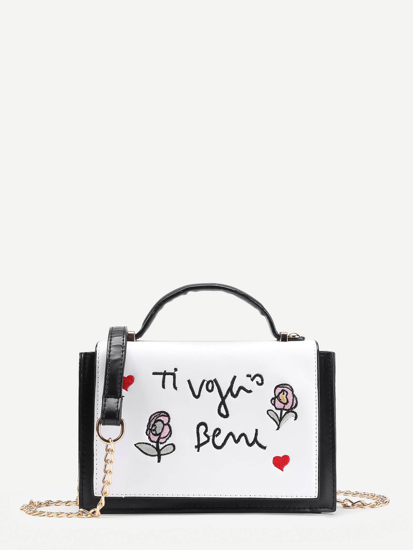 Фото Embroidery Detail PU Shoulder Bag With Handle. Купить с доставкой