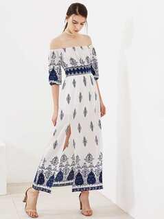 Ornate Print Smocked Waist Slit Bardot Dress