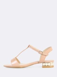 T Strap Satin Pearl Sandals MAUVE