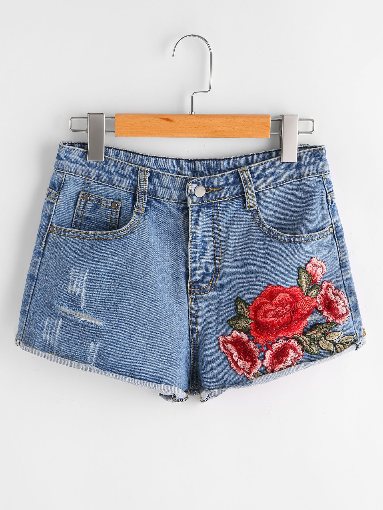 Фото Flower Embroidered Destroyed Denim Shorts. Купить с доставкой