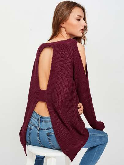 Cutout Shoulder And Back Jumper