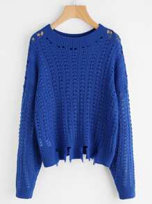 Frayed Hem Loose Knit Jumper