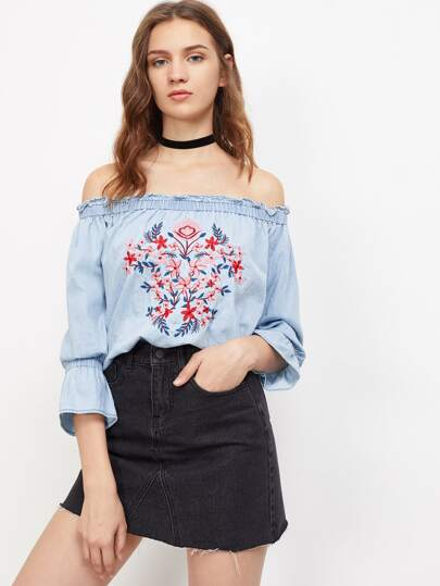 Flower Embroidered Trumpet Sleeve Frilled Bardot Top pictures