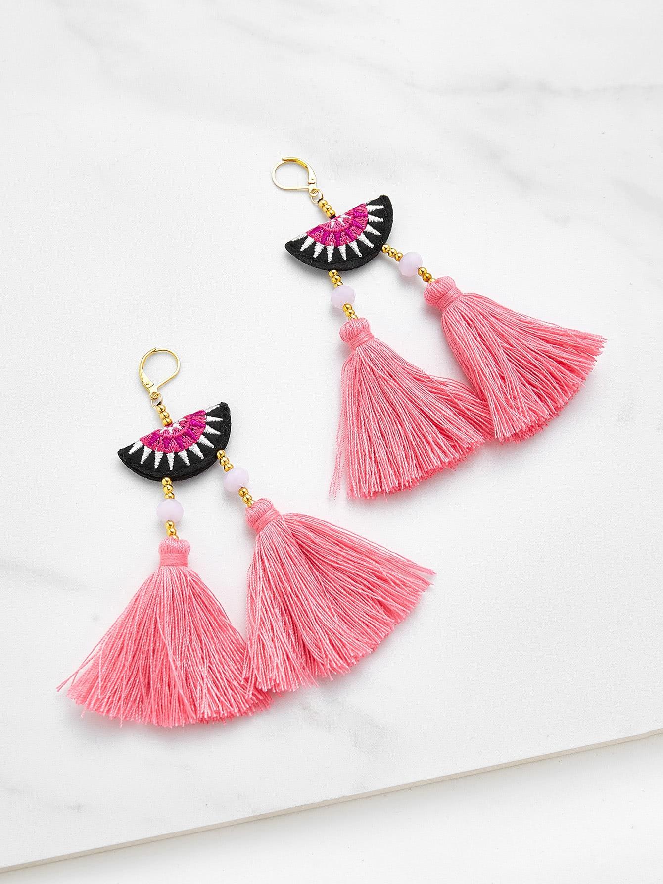 Фото Embroidery Detail Two Tassel Drop Earrings. Купить с доставкой