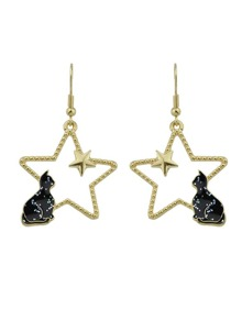 Black Color Cat Guardian Pearl Hollow Star Earrings