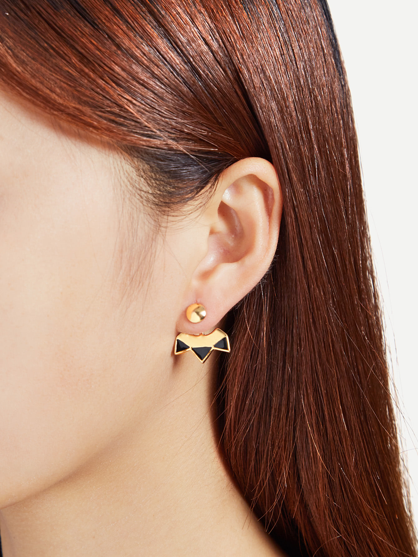 Two Tone Geometric Stud Ear Jacket