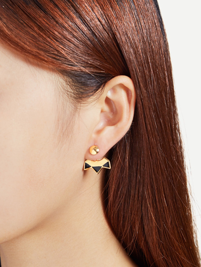 Two Tone Geometric Stud Ear Jacket