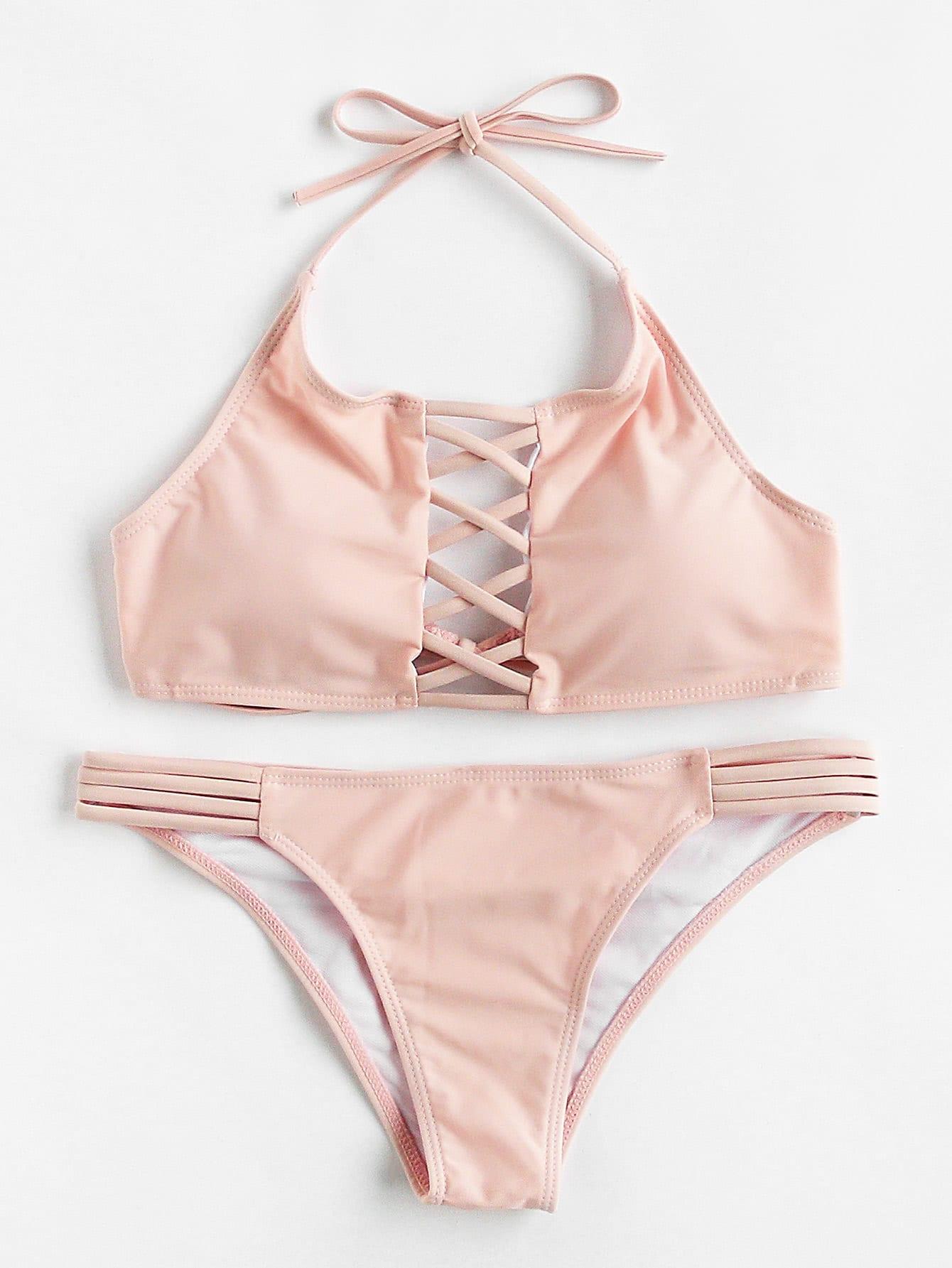 Criss Cross Ladder Cutout Halter Bikini Set swimwear170704311