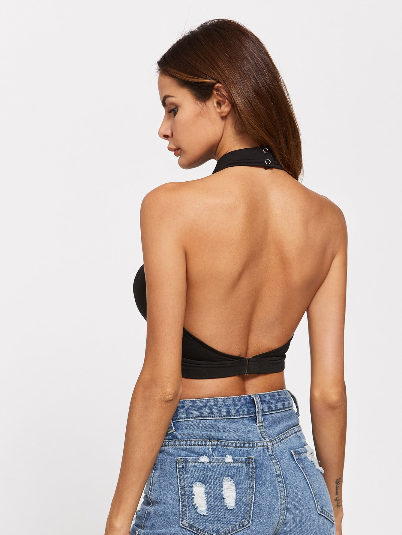 Strappy Cutout Backless Crop Halter Top