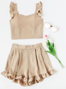 Frill Trim Shirred Crop Tank Top With Shorts