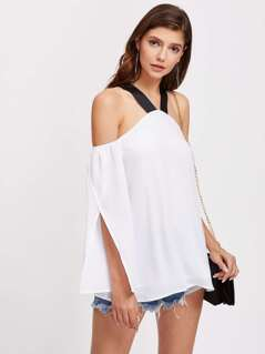 Contrast Thick Strap Overlap Sleeve Top