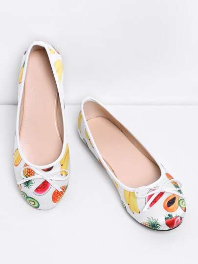 Bow Tie Detail Fruit Print PU Flats