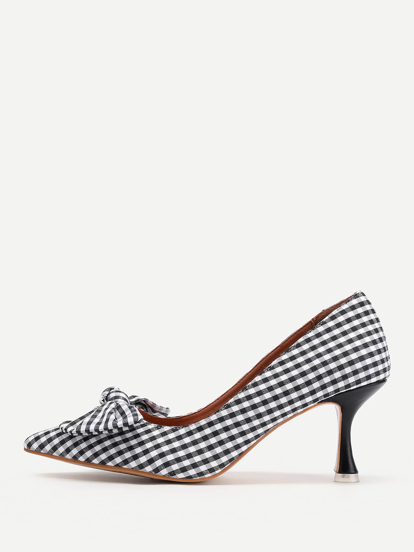 Фото Bow Tie Detail Gingham Stiletto Heels. Купить с доставкой