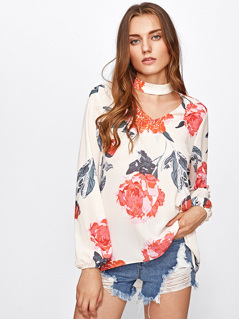 Flower Print Choker Neck Blouse