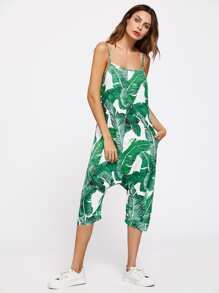 Buttoned Drop Crotch Banana Leaf Print Overall Pants