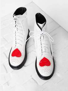Heart Pattern Lace Up Ankle Boots