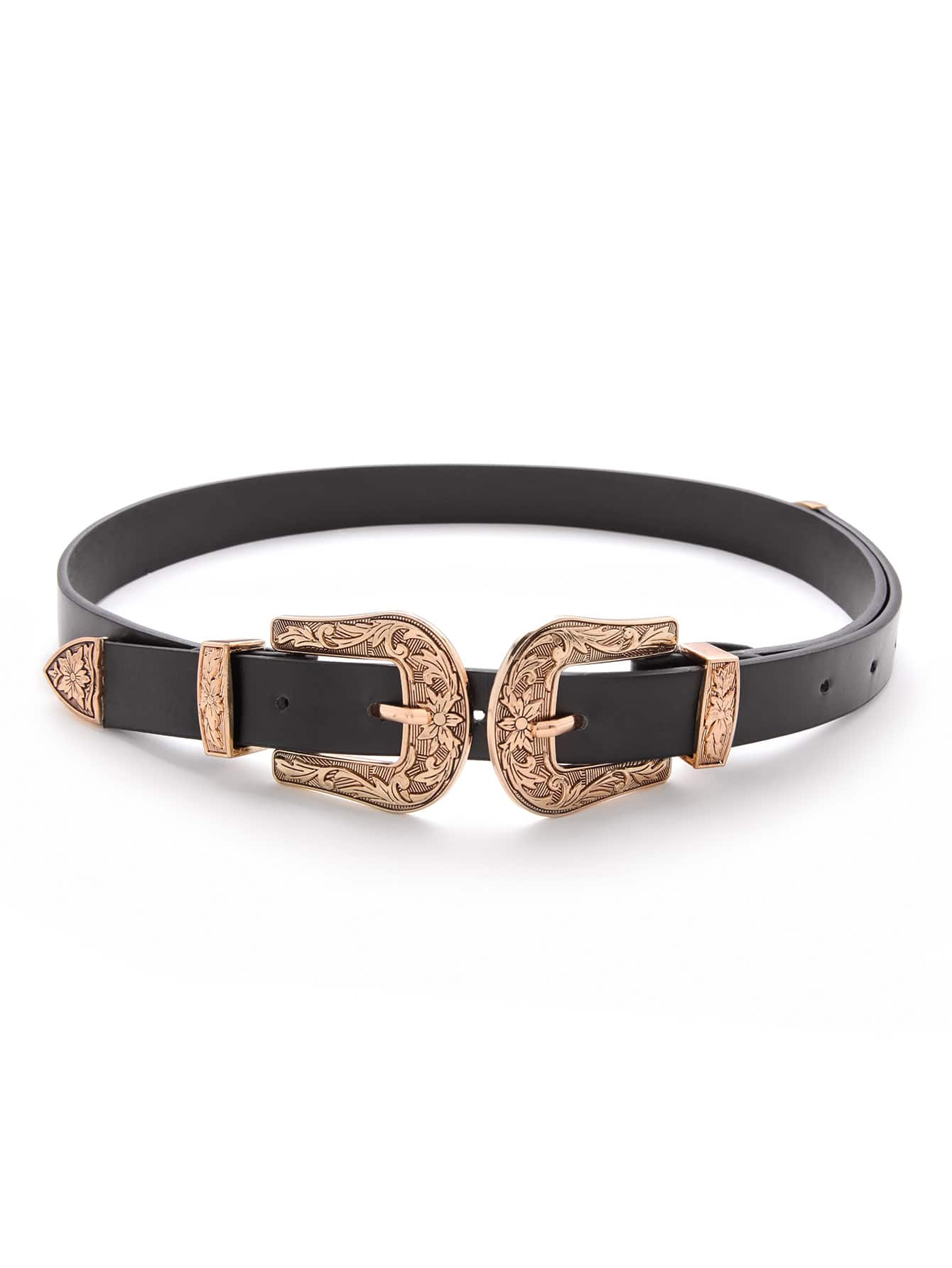Double Buckle Western Belt double circle buckle belt