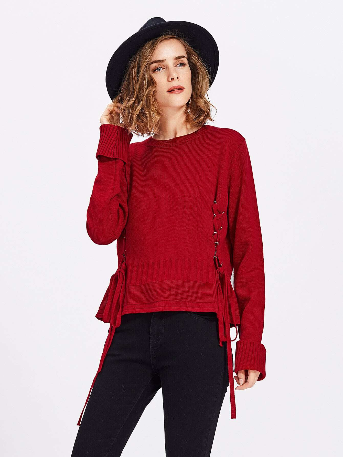 Ribbed Roll Cuff Lace Up Jumper sweater170720466