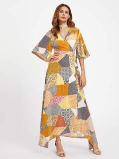 Patchwork Print Surplice Wrap Dress