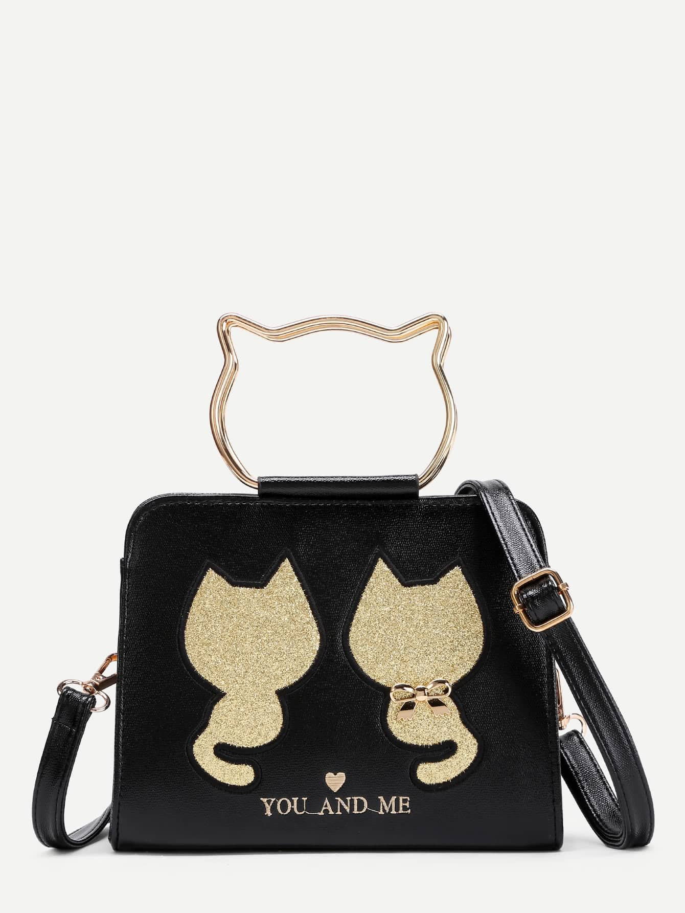 Фото Cat Pattern PU Shoulder Bag With Bow. Купить с доставкой