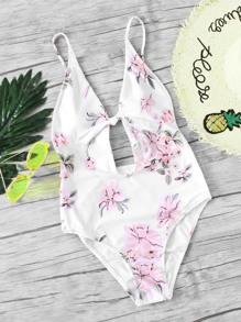 Botanical Print Keyhole Front Swimsuit