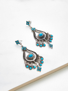 Turquoise Decorated Water Drop Shaped Earrings