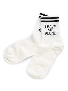 Letter & Striped Pattern Ankle Socks