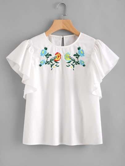 Embroidered Yoke Flutter Sleeve Top