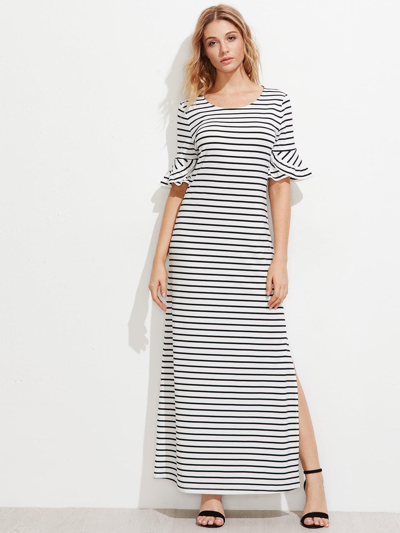 Фото Frill Fluted Sleeve Split Side Horizon Striped Dress. Купить с доставкой