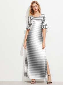 Frill Fluted Sleeve Split Side Horizon Striped Dress