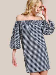 Off Shoulder Puff Sleeve Gingham Dress BLACK WHITE