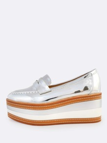 Metallic Patent Loafer Flatforms SILVER
