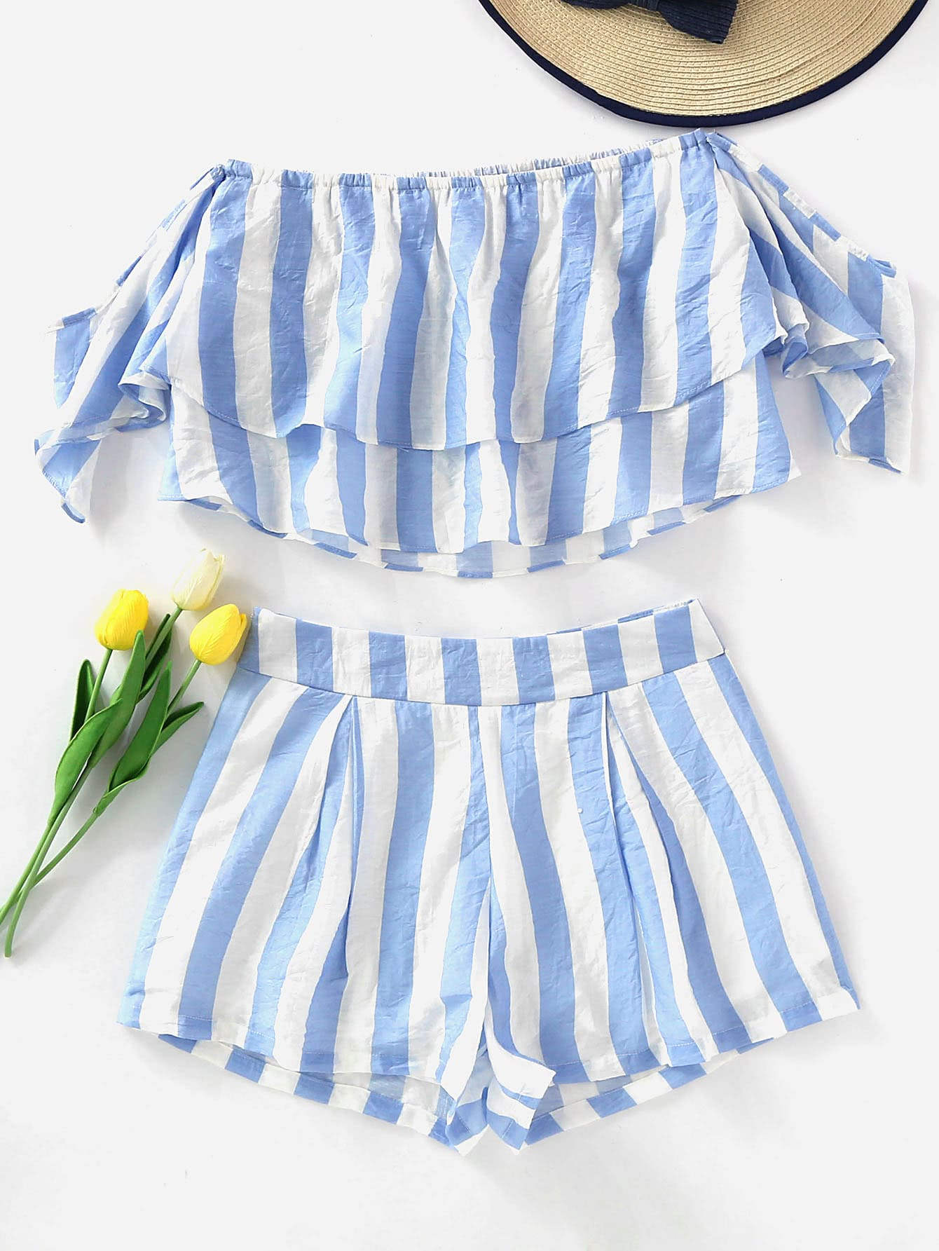 Off Shoulder Striped Layered Crop Top With Shorts oblique shoulder layered frill ditsy top