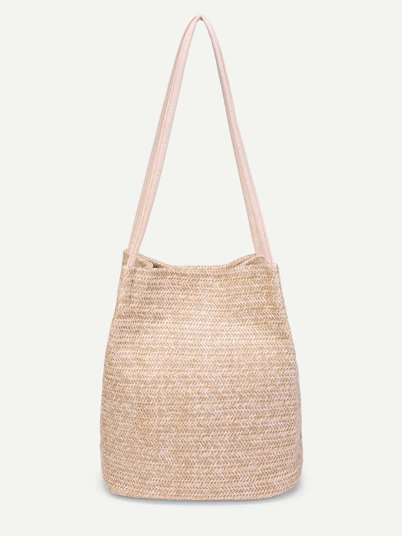 Simple Straw Tote Bag straw flamingo embroidered tote bag