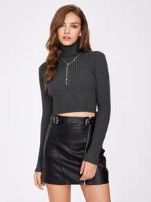 Rib Knit Form Fitting Crop Jumper