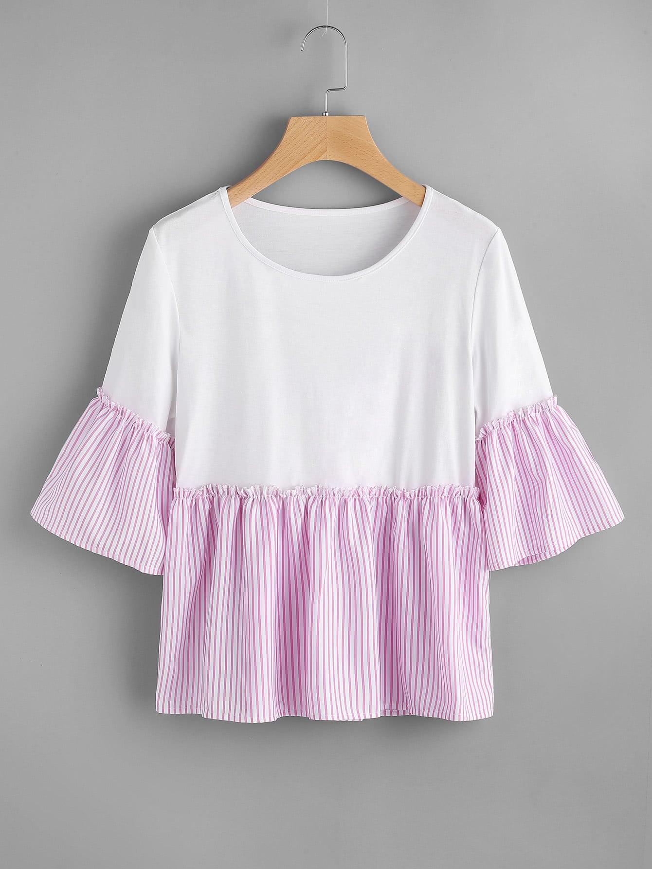 Contrast Striped Trim T-shirt tee170718001