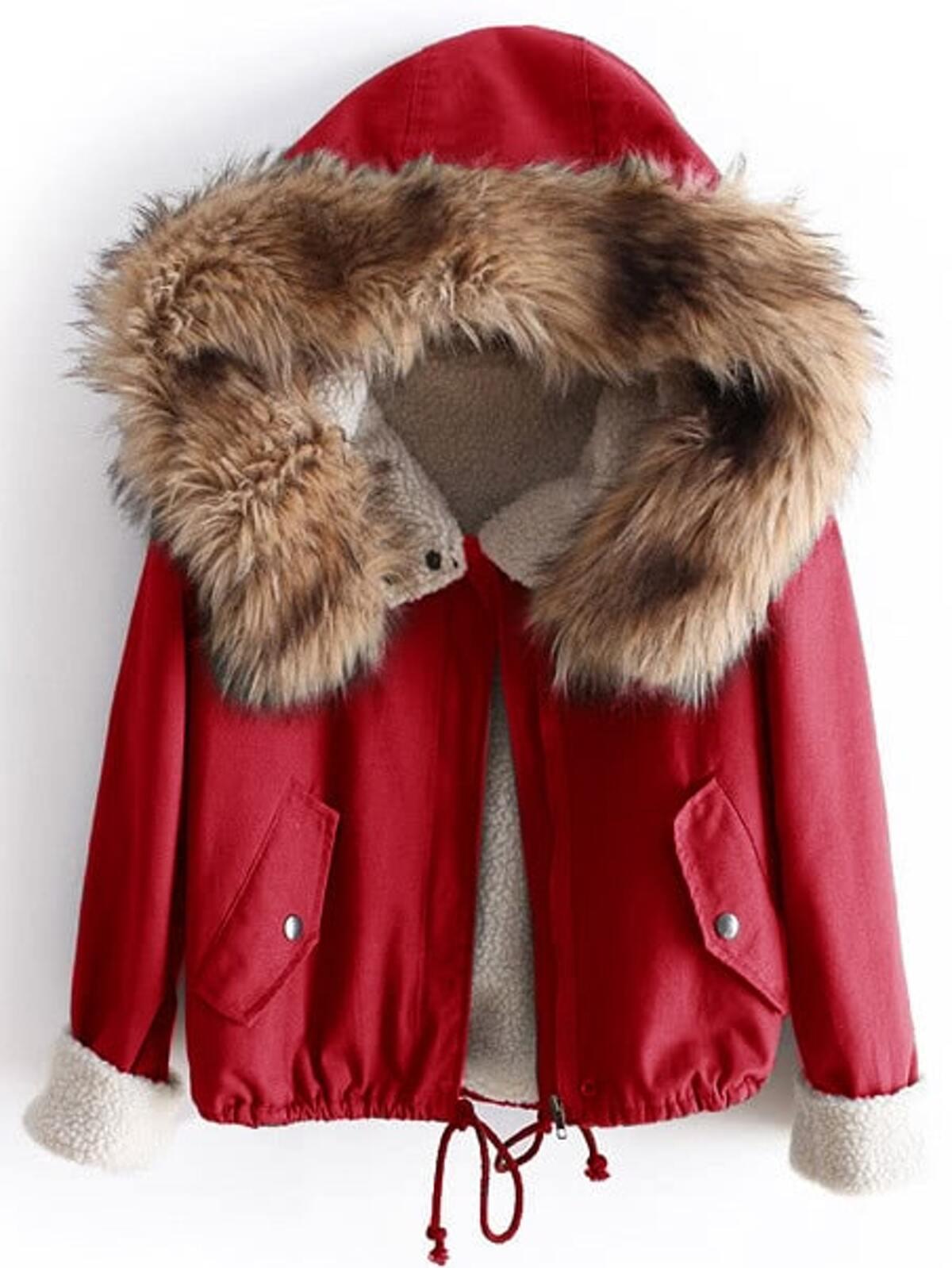 羊毛 有內襯的 外套 附有 人造軟毛 裝飾 頭罩...