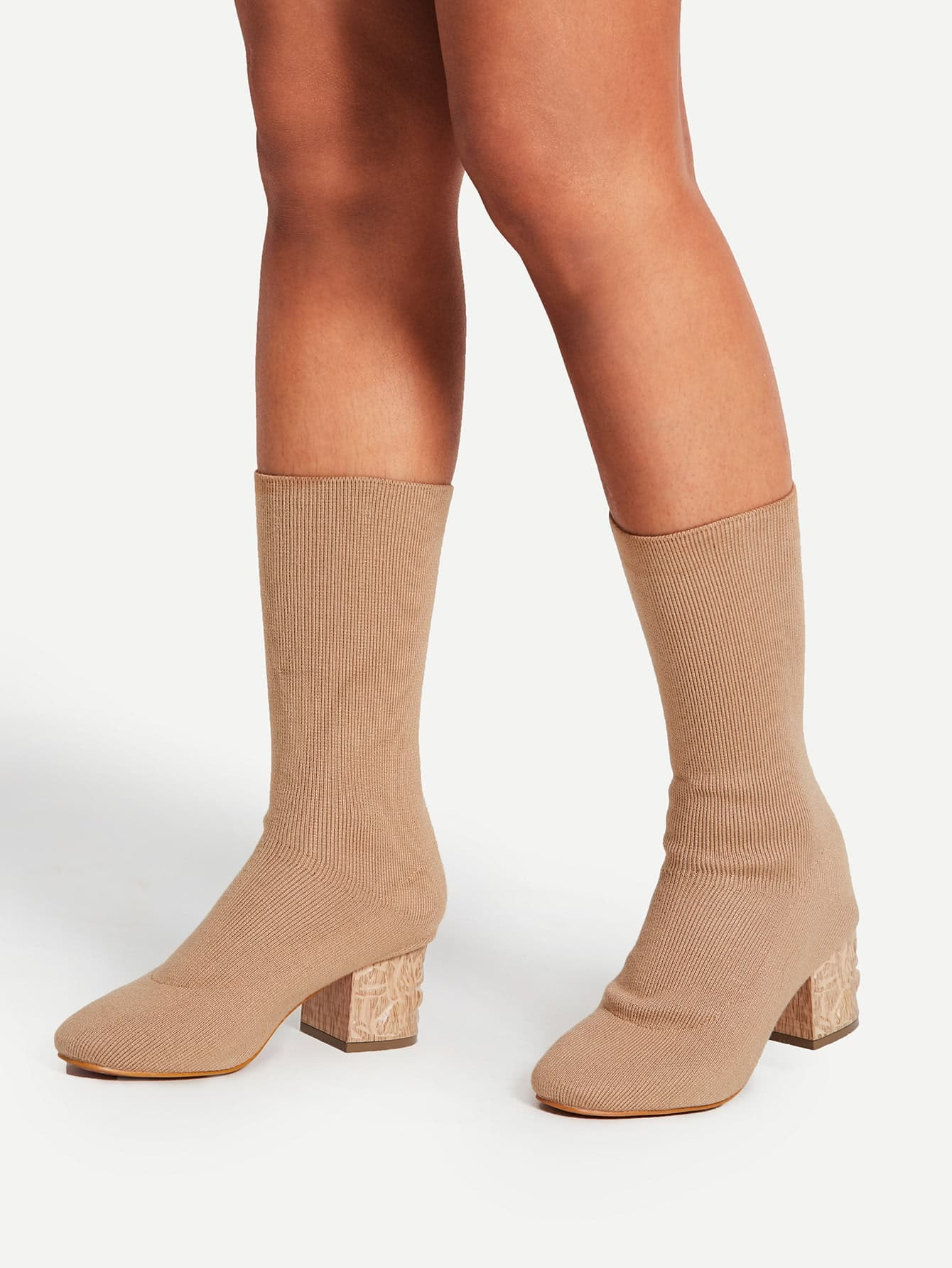 Knit Design Block Heeled Boots